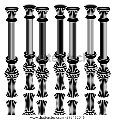 Palmette Classic Capital And Base Columns Vermicular Pattern Design - stock vector