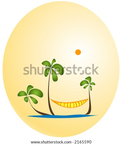 Palms and Hammock paradise. Color version #1 - stock vector