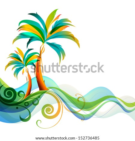Palms and waves - stock vector