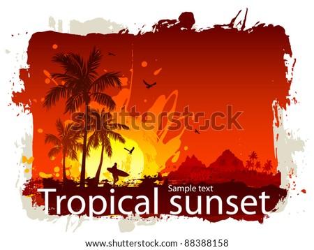 Palms beach at sunset - stock vector