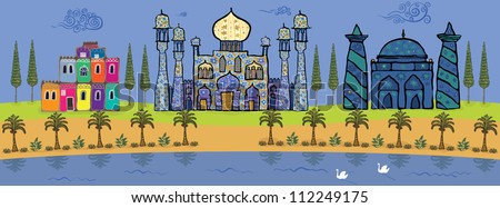 Palms, cypresses, fabulous palaces and swan lake in the oasis. - stock vector