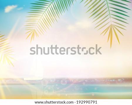 Palms on empty idyllic tropical sand beach design template. EPS10 - stock vector