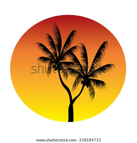 palms set in a circle of the  moon - stock vector