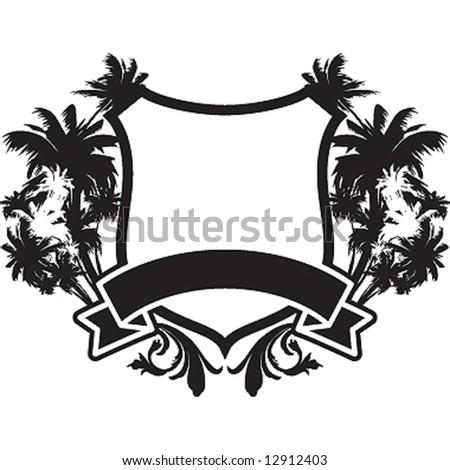 palms vintage shield - stock vector