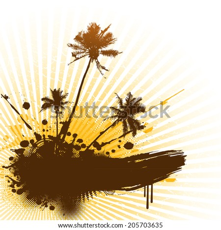 Palms with place for text. Vector