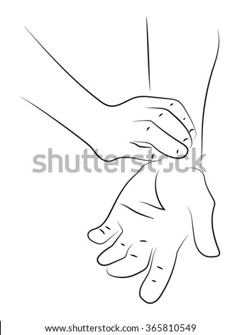 palpation of the pulse, the hand on the pulse of sick, arms - stock vector