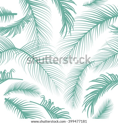 Pam leaves seamless pattern - stock vector