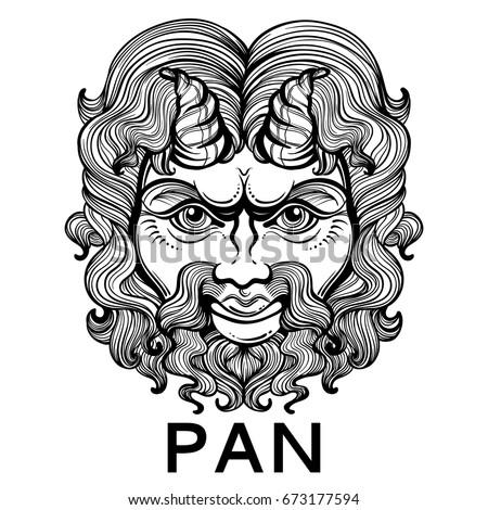 Pan God Fertility Wildlife Ancient Greek Stock Vector 673177594