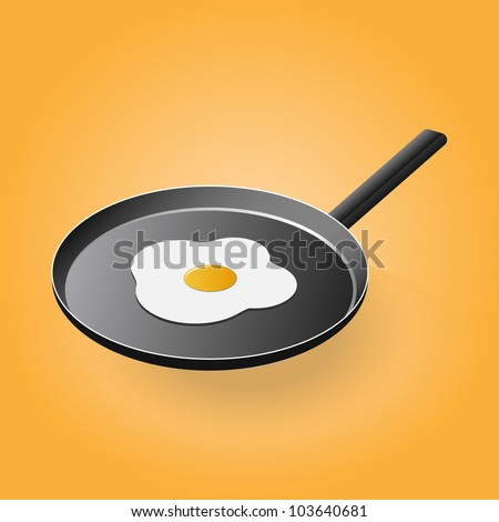 Pan with a fried egg on it - stock vector