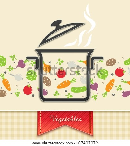 pan with vegetable, food background vector illustration EPS10. Transparent objects and opacity masks used for shadows and lights drawing - stock vector