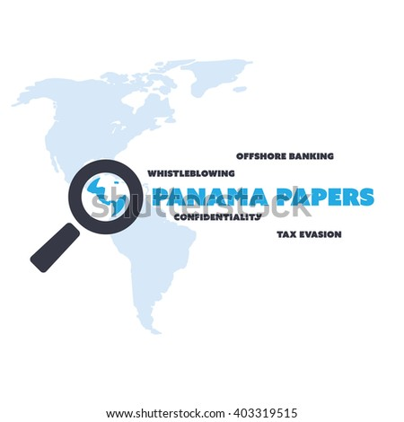 Panama Papers Concept Design - Tax Evasion and Offshore Banking - Investigation and Data Leaks - stock vector