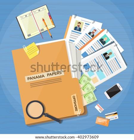 Panama Papers Folder Documents Offshore Company Business People Owners Profile Vector Illustration - stock vector