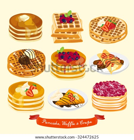Pancake, Waffle and Crepe Vector Design Illustration - stock vector