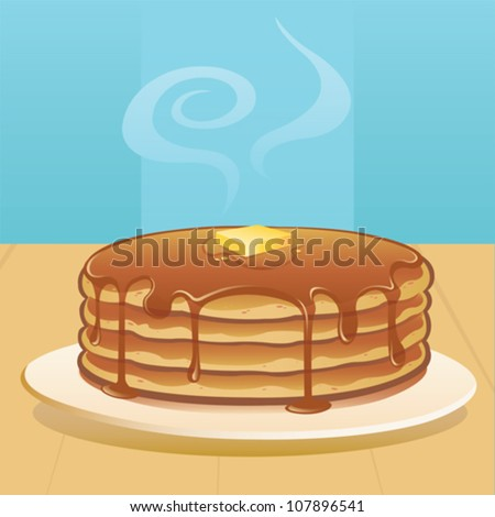 Pancakes with Butter and Syrup - vector - stock vector