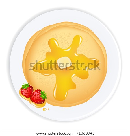 Pancakes With Oil, Honey And Strawberry,  Isolated On White Background, Vector Illustration - stock vector