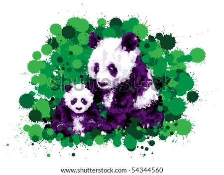 Panda and cub - stock vector