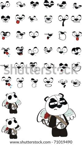 panda bear cupid cartoon in vector format very easy to edit - stock vector