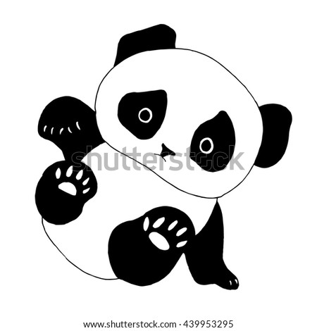 Panda bear illustration. Good for T-shirt, bag or whatever print. Vector illustration - stock vector