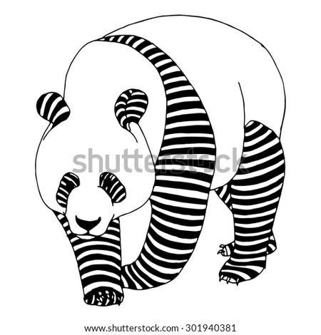 Panda bear illustration on simple white background