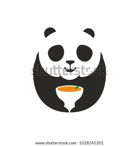 panda bear logo a cute panda cartoon mascot holding a soup mug perfect logo