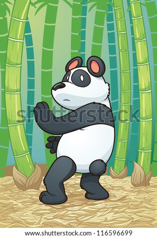 Panda bear practicing martial arts in the forest. Vector illustration with simple gradients. Character and background on separate layers.