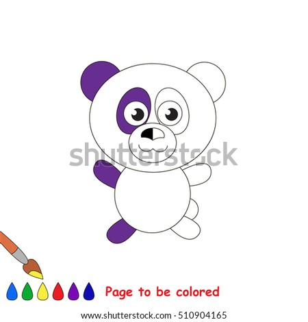 Panda bear to be colored, the coloring book to educate preschool kids with easy kid educational gaming and primary education of simple game level.