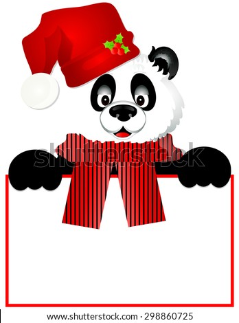 Panda Bear with Santa Hat Peeking Over Blank Sign/Frame - stock vector