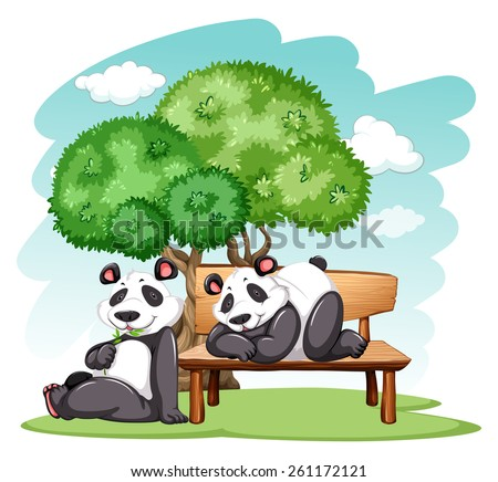 Panda bears relaxing at the park on a white background - stock vector
