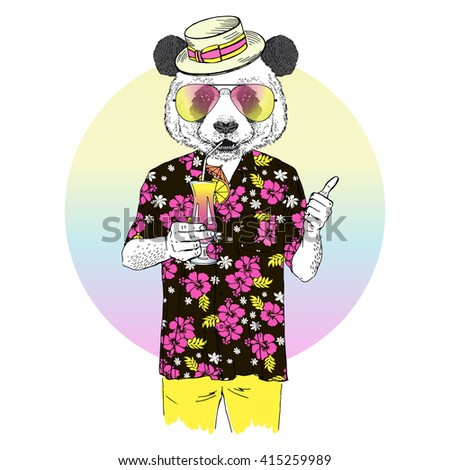 panda dressed up in aloha shirt drinking cocktail, furry art illustration, fashion animals, hipster animals, summer holidays