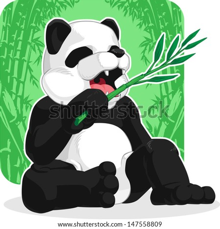 Panda Eating Bamboo Leaves - stock vector