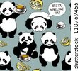 Panda has a cold / Seamless funny pattern - stock vector