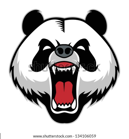 panda head mascot - stock vector
