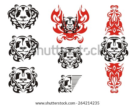 Panda head tattoos symbols. Tribal black and white panda bear head mascot and panda head in fire  - stock vector