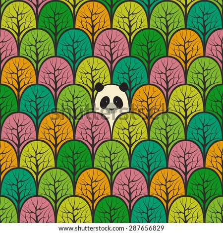 Panda in a forest seamless pattern. Vector design background. - stock vector