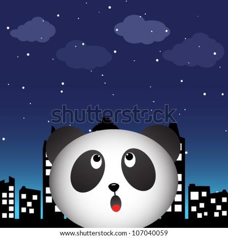 Panda in the city at night - stock vector
