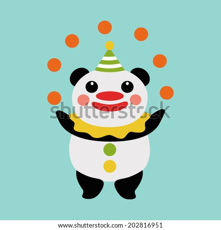 Panda juggler - stock vector