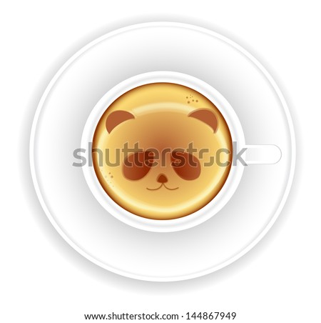 Panda on a cup of coffee. Vector version - stock vector