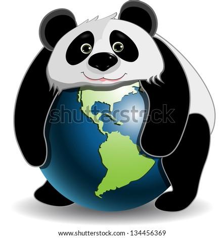 Panda on the globe - stock vector