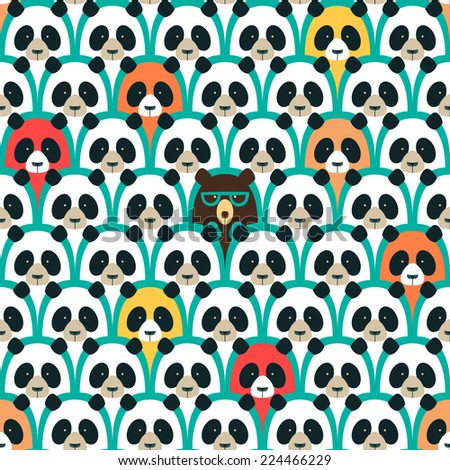 Panda seamless cartoon pattern - stock vector
