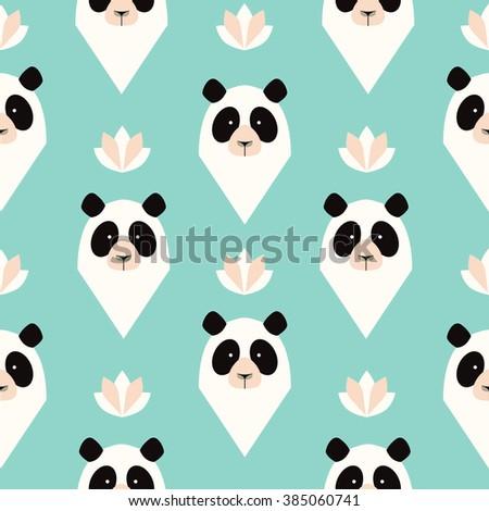 Panda seamless pattern. - stock vector
