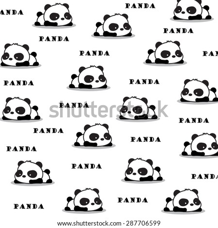 Panda Seamless pattern with funny cute animal background. Vector - stock vector
