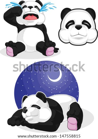 Panda Set 2 - Sleeping, Crying, Panda Head  - stock vector