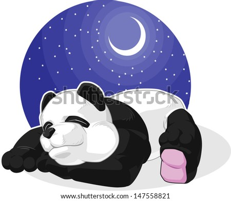 Panda Sleeping - stock vector