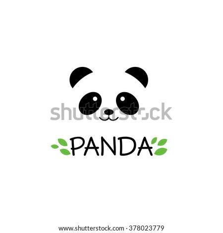 Panda vector logo illustration. Panda's head. Smiling animal face. Bamboo bear chinese bear logotype. Carnival symbol. Cute picture. - stock vector