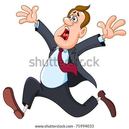 Panicked businessman - stock vector