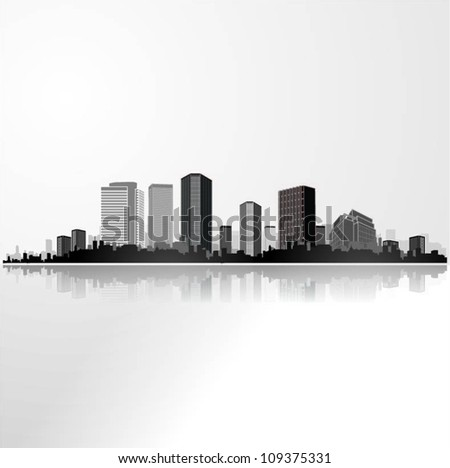 Panorama city background. Vector illustration. - stock vector
