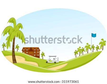 Panorama Illustration of a Golf Course with a Golf Cart in the Middle - stock vector