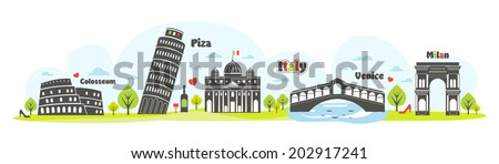 panorama of italy - stock vector