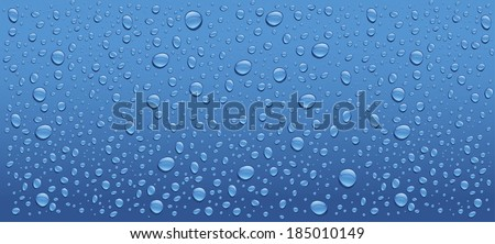 panorama of many water drops on blue background - stock vector