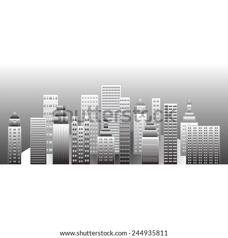 panorama of the city in shades of gray on a white background - stock vector